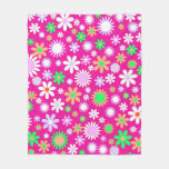 Pink Flower Power Fleece Blanket