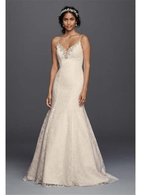 Petite All over Lace Beaded Trumpet Wedding Dress   David