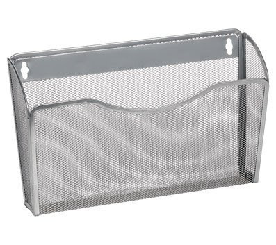 2446vc Single Pocket Office Mesh Wall Mount Hanging File Holder Organizer Vertical Rack, Silver - 8.5 x 3.75 x 13.125 in.