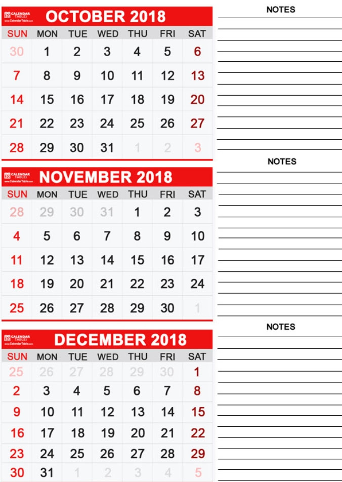 3 Monthly Calendar