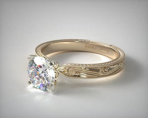Engraved Solitaire Engagement Ring   18K Yellow Gold   17488Y