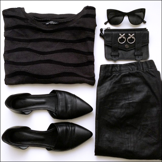LE FASHION BLOG INSTAGRAM OUTFIT ZARA WAVE SHEER STRIPE SWEATER ELIZABETH AND JAMES LAFAYETTE CAT EYE SUNGLASSES LUV AJ CROSSEARRINGS PROENZA SCHOULER ZIP CASE WALLET JENNI KAYNE DORSAY FLATS VINCE CROPPED CROP LEATHER PANTS DAILY OUTFITS 7 photo LEFASHIONBLOGINSTAGRAMOUTFITASOSWAVESWEATERVINCELEATHERPANTS7.png