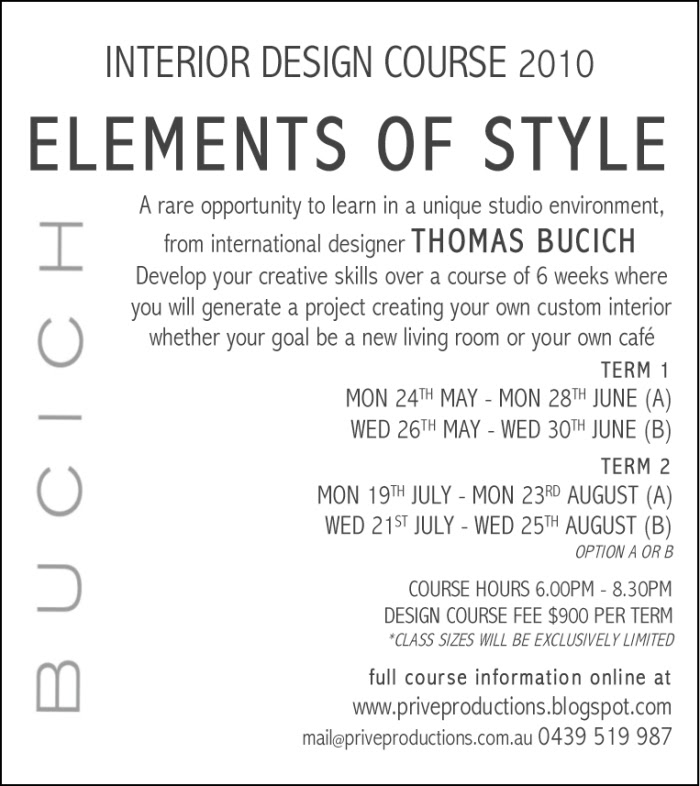INTERIOR DESIGN COURSE 2010 | THOMAS BUCICH DESIGN - What's New