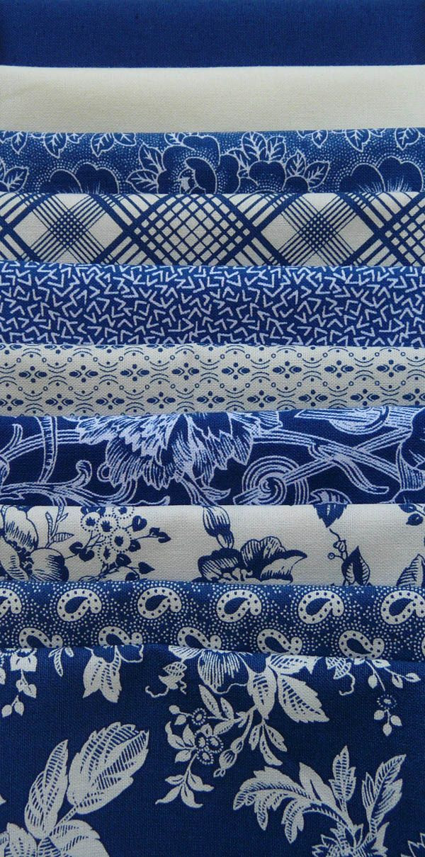 "Gallery in Blue, Blue/White Fat Quarter Bundle (10) - ""The Quilted Crow Quilt Shop, folk art quilt fabric, quilt patterns, quilt kits, quilt blocks"