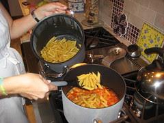 add perfect pasta into chicken sauce