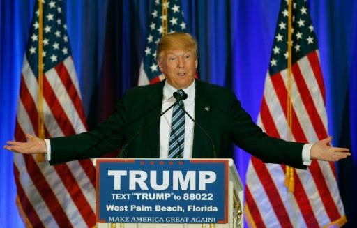 Donald Trump em coletiva de imprensa sábado em West Palm Beach, Flórida. Foto: AFP Rhona Wise