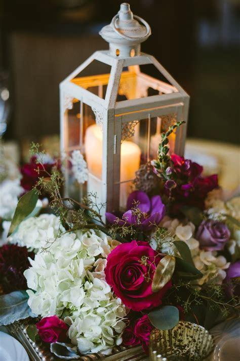 Lantern centerpiece, purple, fuchsia, lavender, burgundy