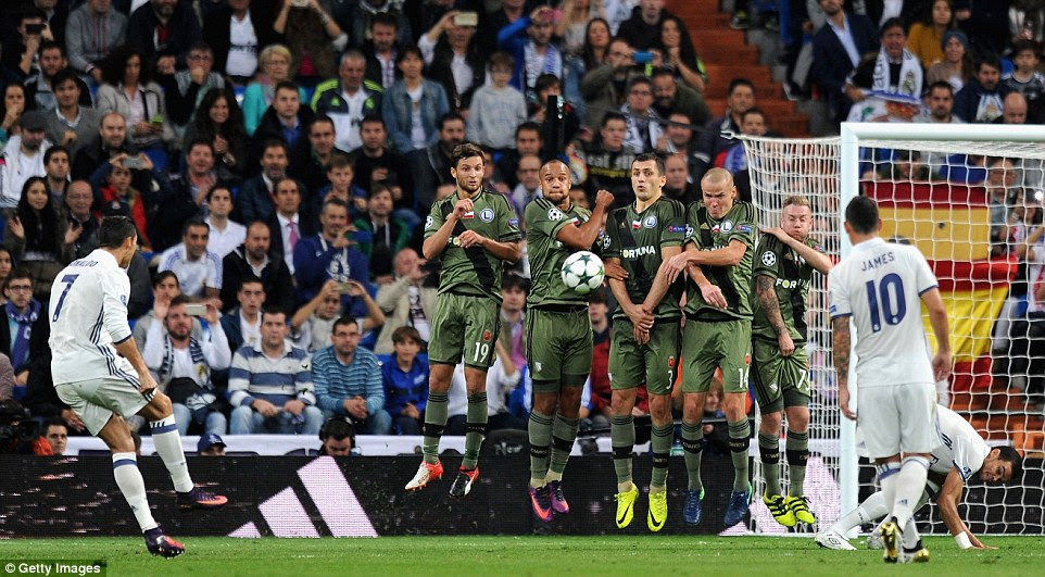 The Portuguese had a couple of chances from free-kicks but both failed to trouble Legia keeper Arkadiusz Malarz overly