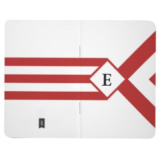 Red Stripes and Chevrons with Monogram on White Journals