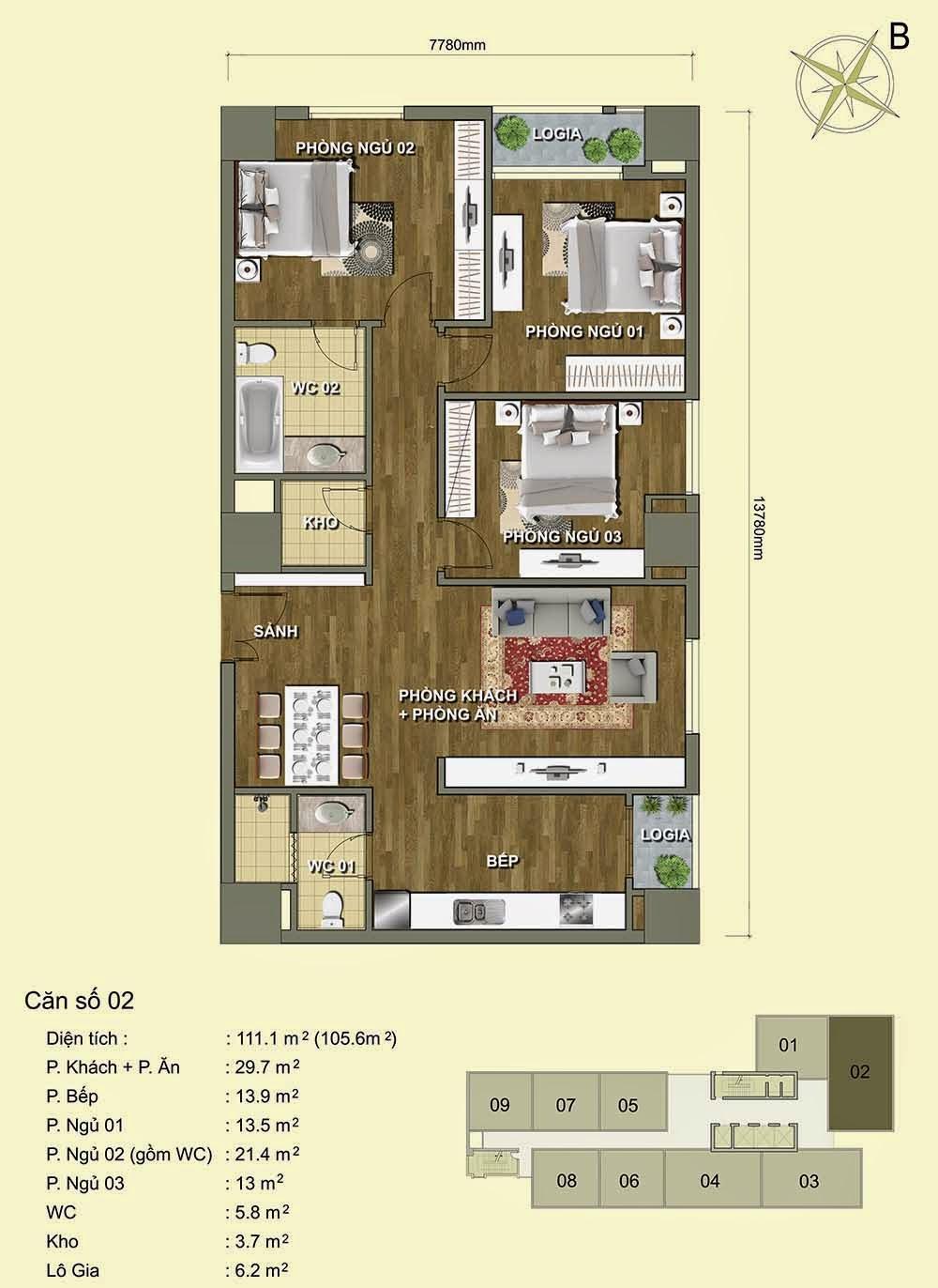 Căn số 2 - Park View Residence