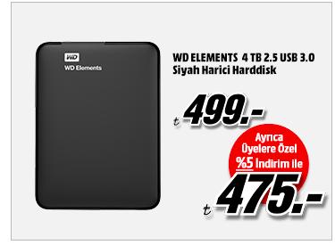 WD ELEMENTS 4 TB 2.5 USB 3.0 Siyah Harici Harddisk 475TL