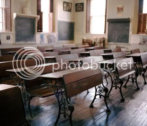 classroom with blackboards
