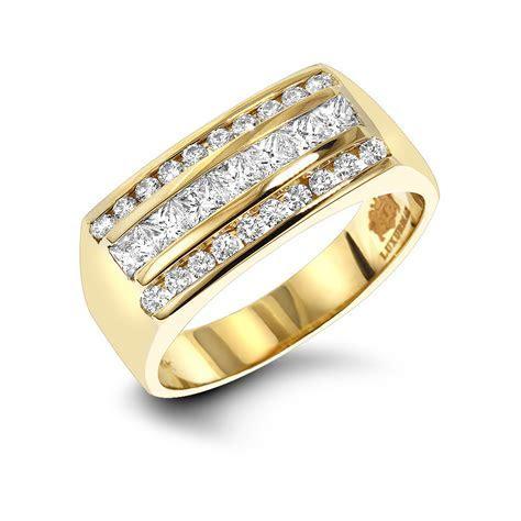 Mens Round & Princess Cut Diamond Ring 1.3ct 14K Gold