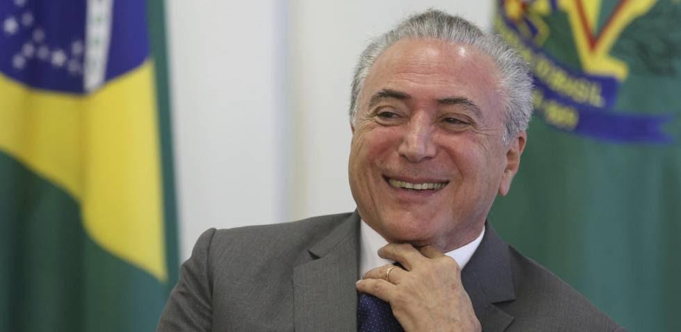 Michel Temer durante una ceremonia en el palacio presidencial de Brasilia, este miércoles.
