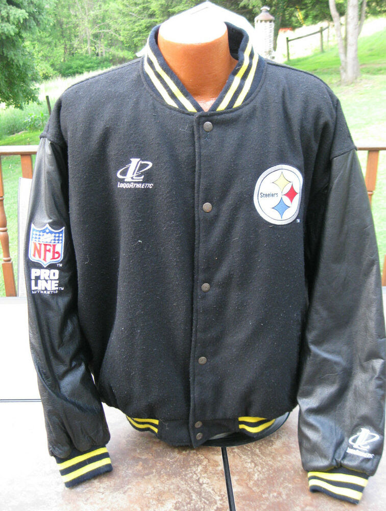Throwback NFL Pro Line Letterman PITTSBURGH STEELERS Leather Sideline Jacket LG  eBay