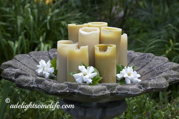 Beeswax Candles in Birdbath with Gardenias