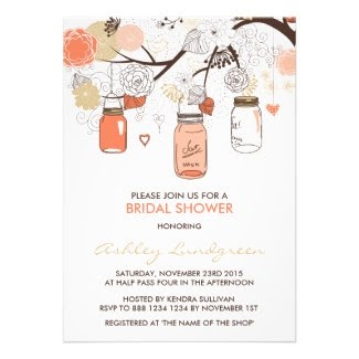 Peach Mason Jars Spring Bridal Shower Invitation