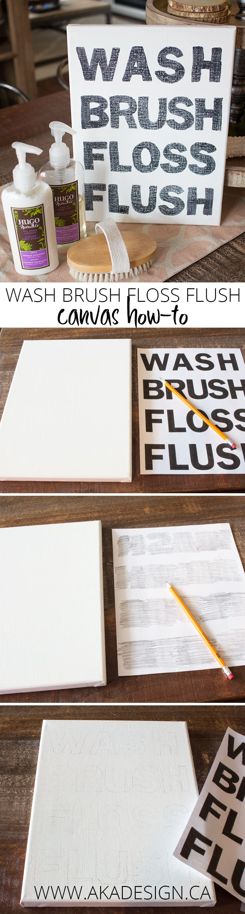 wash brush floss flush canvas how to step by step