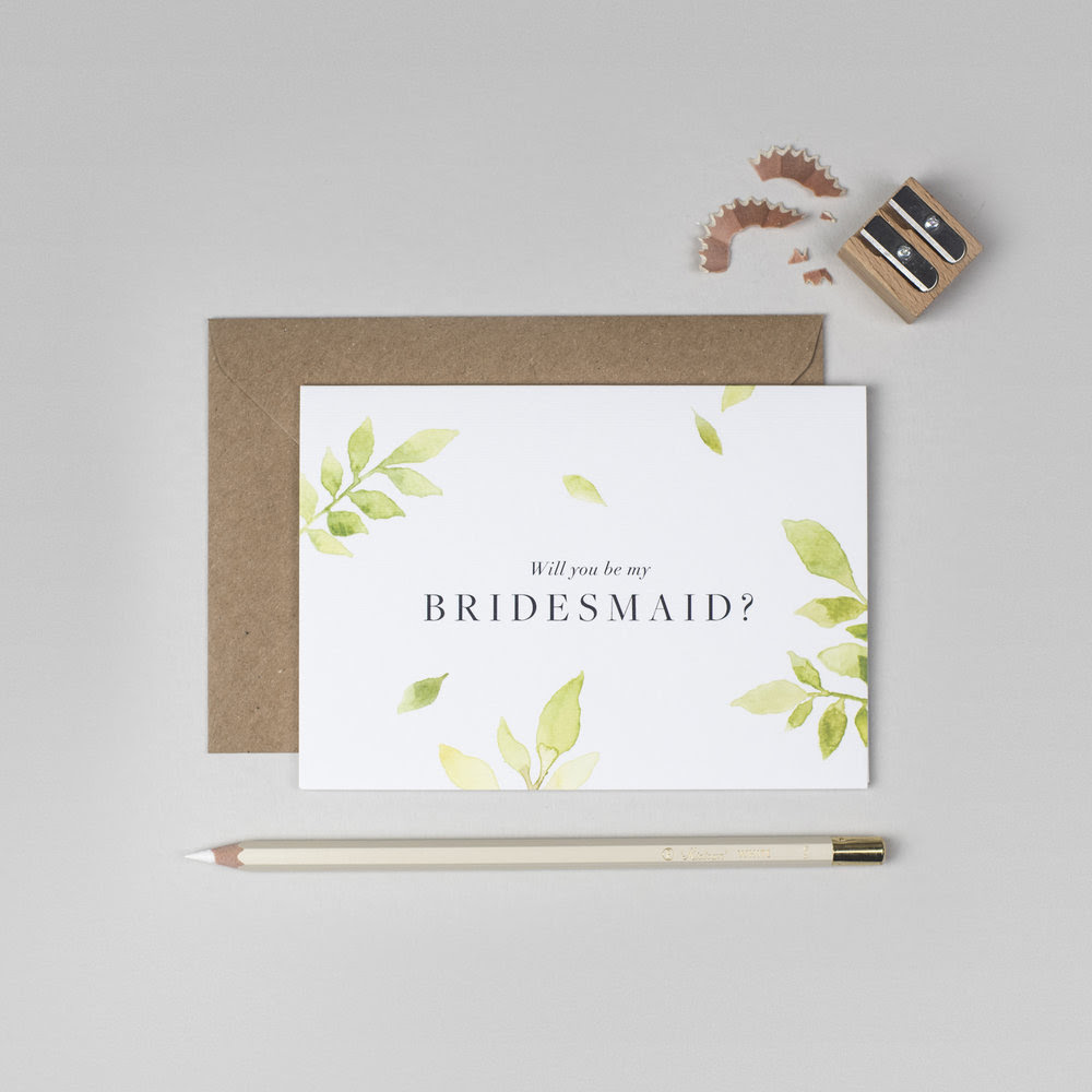Botanical Will You Be My Bridesmaid Card Ink Bloom