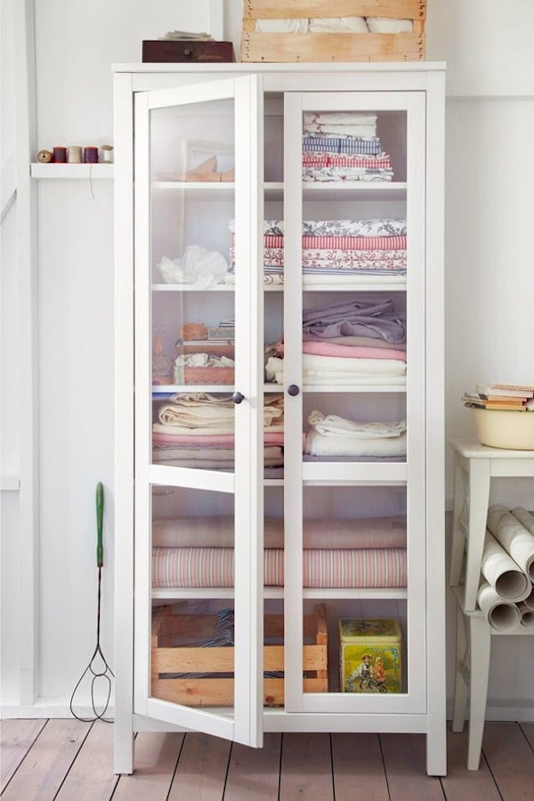 Linen Closet Storage Freestanding Cabinet Hemnes Gl Door From Ikea