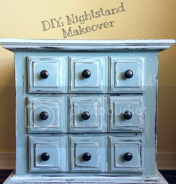 Distressed style diy nightstand makeover for Cheap diy nightstand