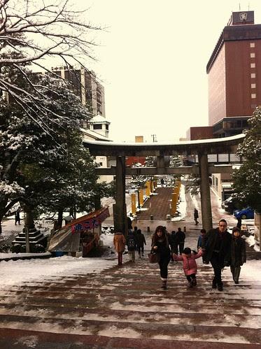 People visiting Oyama Shrine