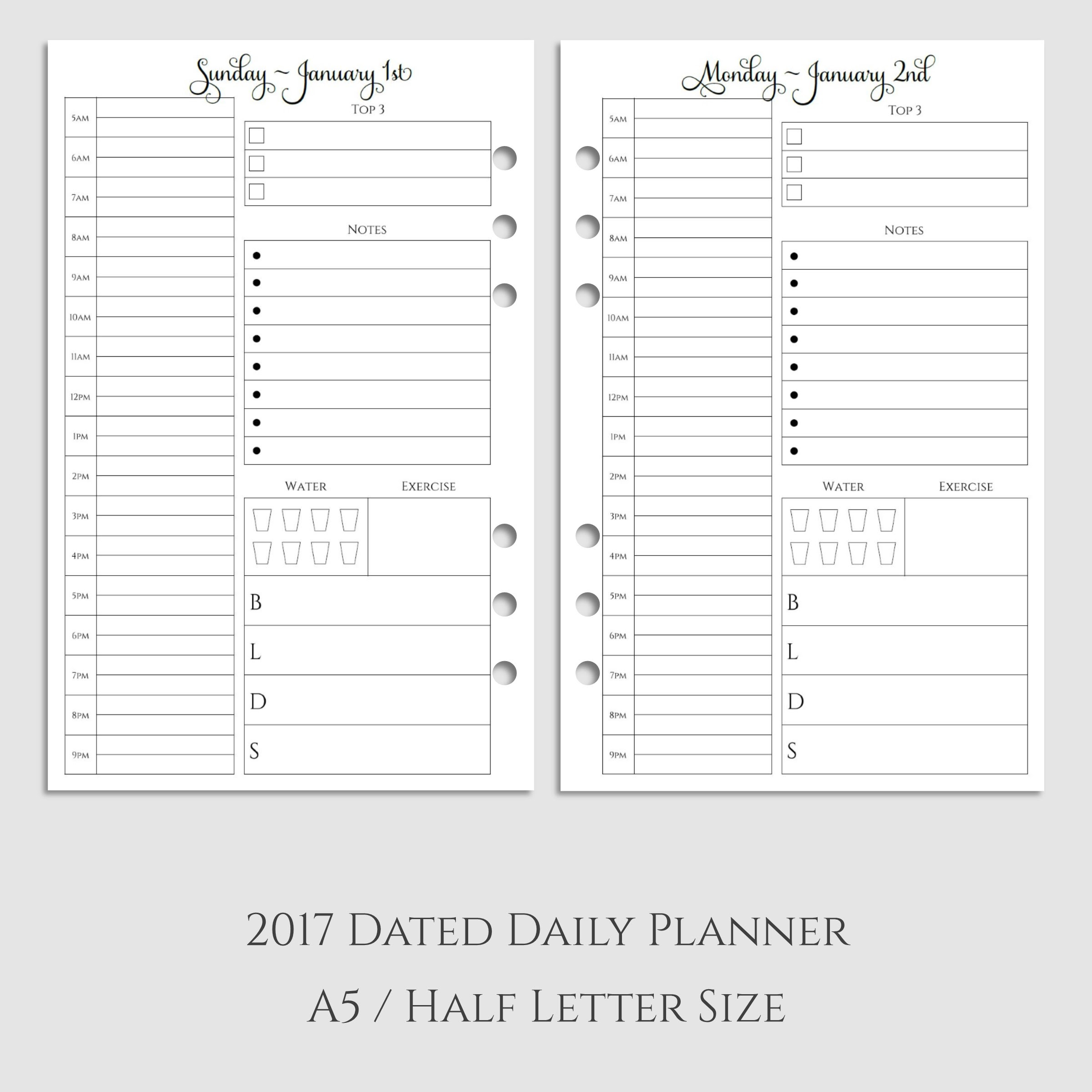 2017 Daily Planner Inserts with Health & Meal Tracking - Sarcasm ...