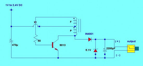 circuit schematic of the cellphone charger using 1.5V battery