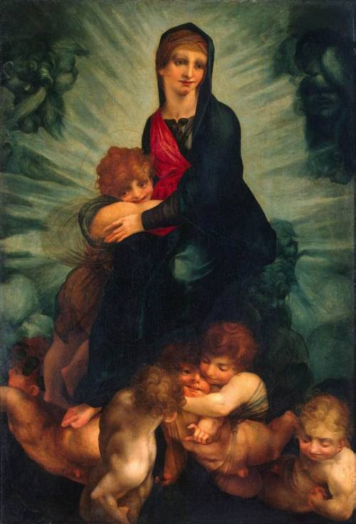 Rosso Fiorentino. Madonna with Child and Putti. 1522. Skankalicious Makeup Mary. This is not how faces work.