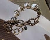 Vintage Brass, Bronze, Pearl and Black Spinel-Black Tie Bracelet