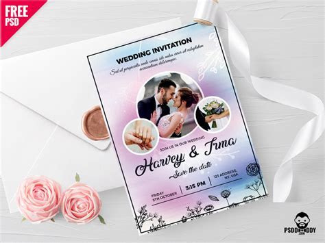 Wedding Invitation Card Free PSD   free psd   UI Download