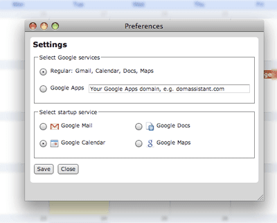 A picture of the GMDesk settings dialog