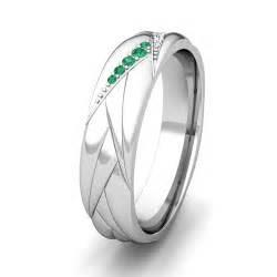 wave mens wedding band   gold diamond  emerald ring