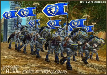 Rioriel and Nevik's daily World of Warcraft screenshot presentation of significant locations, players, memorable characters and events, assembled in the style of a series of collectible postcards. -- Postcards of Azeroth: Stormwind Royal Guard