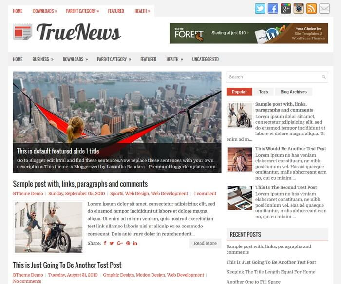 TrueNews Blogger Template