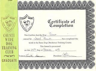 dog training certificate templates certificate