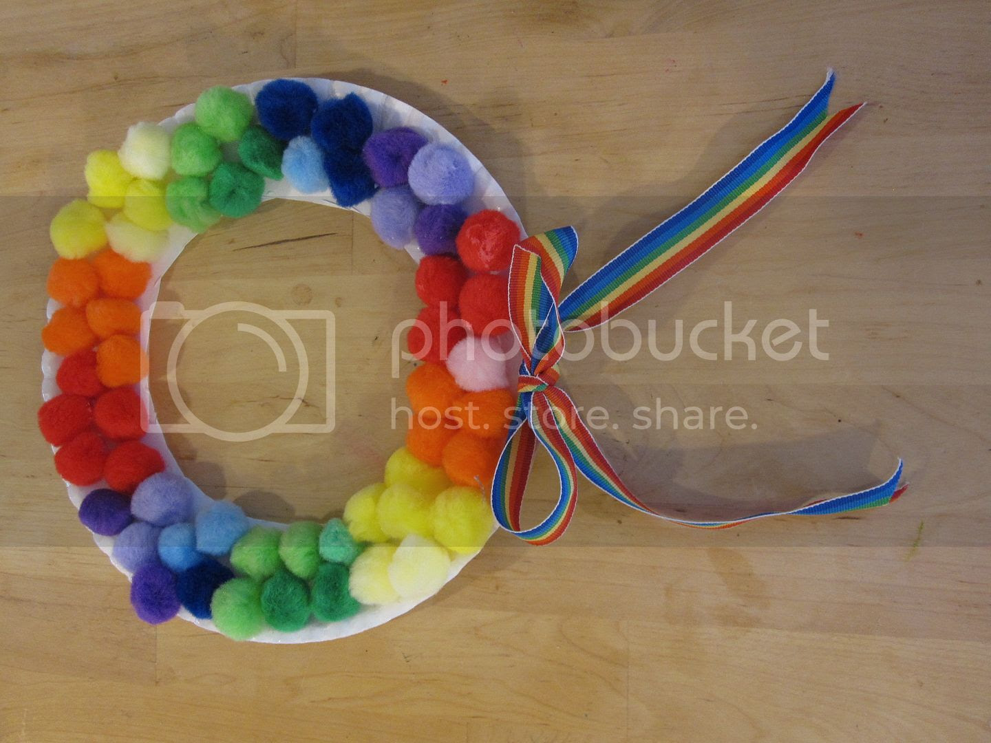 Rainbow Paper Plate Wreath