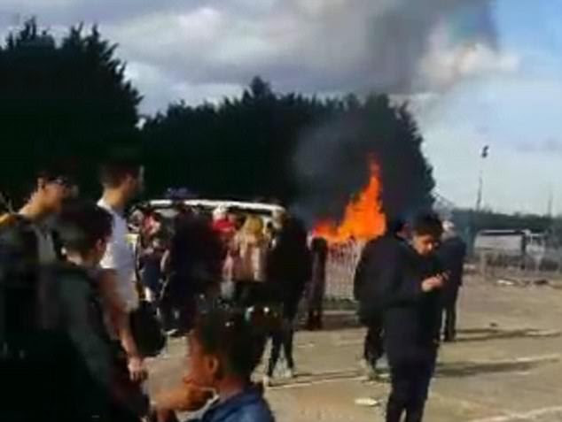 Footage from the Villepinte Carnival show flames and plumes of smoke stretching into the sky