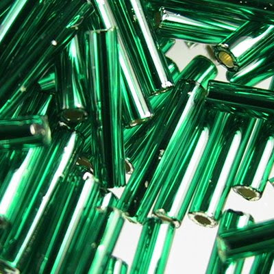 tb3b36 Japanese Seedbeads - #3 Toho Bugles - Silver Lined Emerald