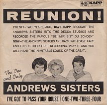 45cat The Andrews Sisters Ive Got To Pass Your House One Two