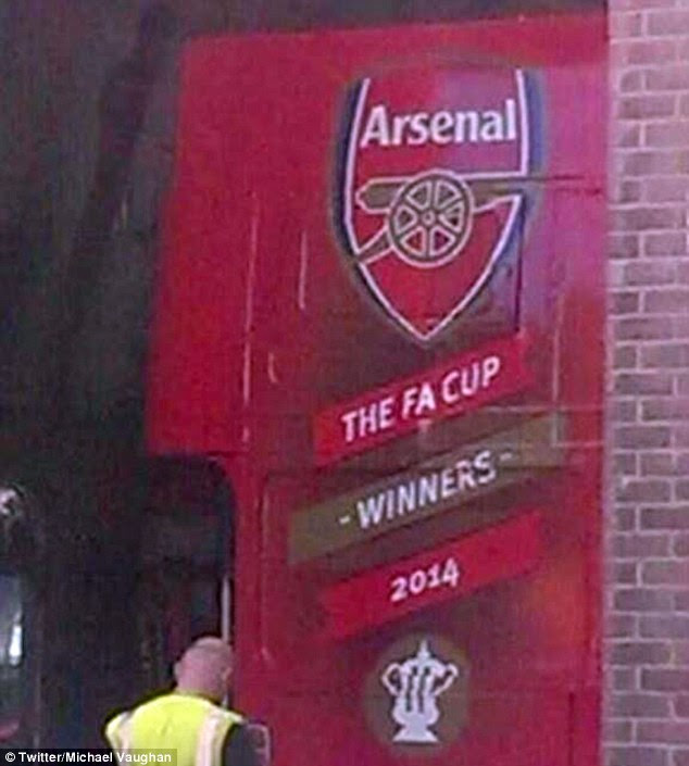 Parade: A picture of a bus embossed with the Arsenal badge and strap-line 'FA Cup Winners' has emerged
