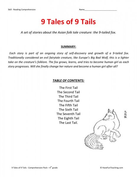 Reading Prehension Worksheet 9 Tales Of 9 Tails