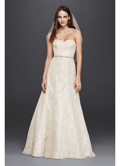 Allover Lace A Line Strapless Wedding Dress   David's Bridal