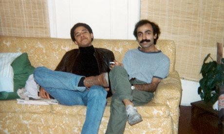 Barack Obama and Sohale Siqqiqi on the sofa in 1981