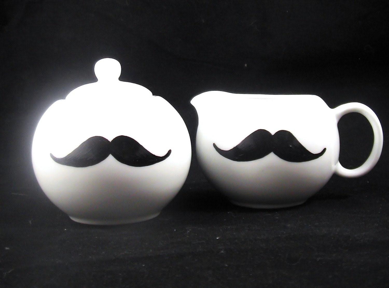 Gentlemans Tea time Sugar and Creamer Pot Mustache set handpainted