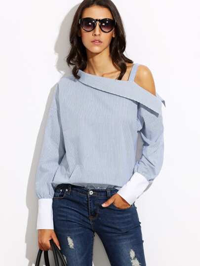 Blue Striped Fold Over Asymmetric Shoulder Contrast Cuff Blouse
