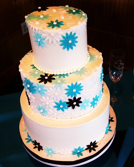 Teal White Black Wedding Cake