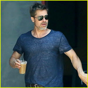 Brad Pitt Sips on Iced Coffee After Lunch with Friends