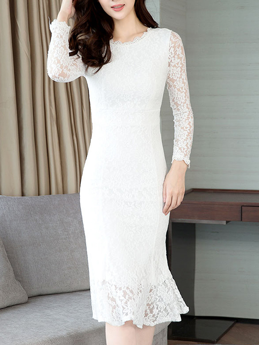 Mermaid Dress Bodycon Band Collar Hollow Lace Out