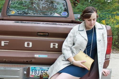 Outfit - Tucker for Target ruffled back dress, vintage gold clutch, Downton Abbey hair, Ford pickup truck, vintage coat
